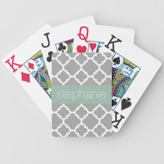 Gray and Mint Quatrefoil Pattern Custom Name Bicycle Playing Cards