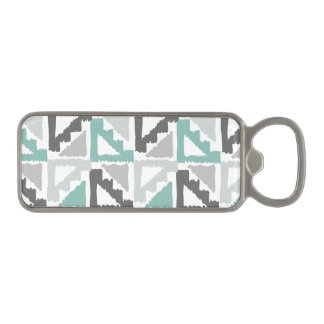 Gray and Mint Tribal Print Ikat Triangle Pattern Magnetic Bottle Opener
