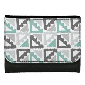 Gray and Mint Tribal Print Ikat Triangle Pattern Wallet