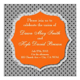 Gray and orange dotted wedding invitation