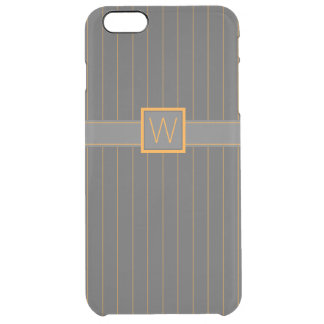 Gray and Orange Pinstripes Uncommon iPhone Case
