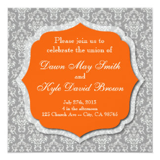 Gray and orange wedding invitation