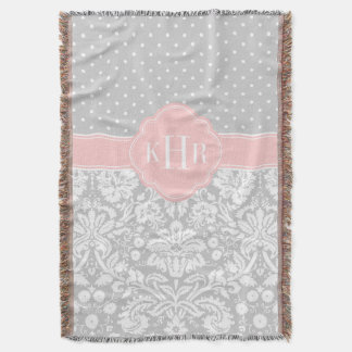 Gray and Pink Damask Polka Dots Monogram Throw Blanket