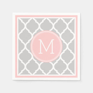 Gray and Pink Quatrefoil Wedding Monogram Disposable Napkin
