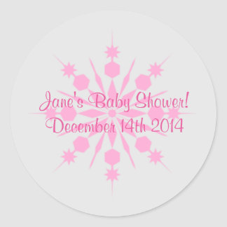 Gray and Pink Snowflake Stickers
