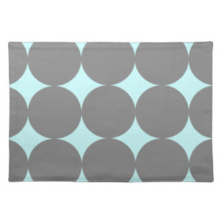 Gray and Teal Blue Polka Dots Placemat