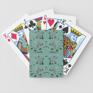 Gray and Teal Flowers and Shapes Bicycle Playing Cards