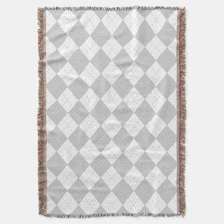 Gray and White Argyle Throw Blanket