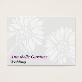 Gray and White Floral Business Card