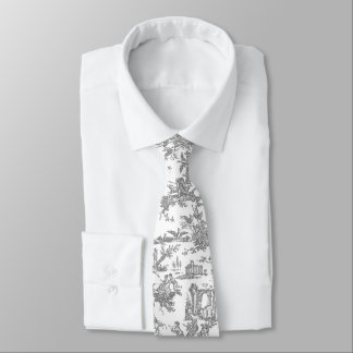 Gray and White French Toile Neck Tie