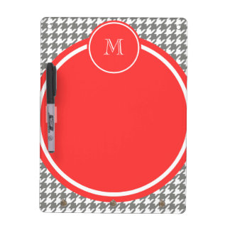 Gray and White Houndstooth Coral Monogram Dry-Erase Board
