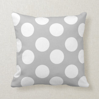 Gray and White Large Polka Dot Accent Pillow Cushion