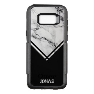 Gray And White Marble And Black Stripes OtterBox Commuter Samsung Galaxy S8+ Case