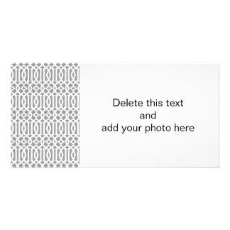 Gray and White Modern Trellis Pattern Photo Card