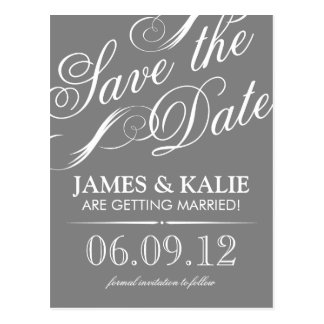Gray and White Vintage Script Save the Date Postcard