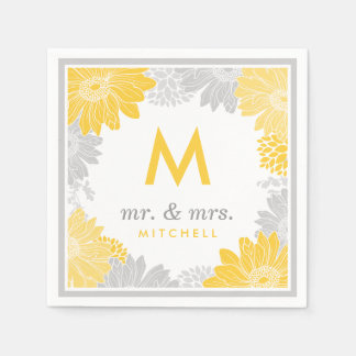 Gray and Yellow Modern Floral Wedding Monogram Paper Napkins