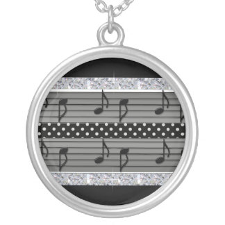 Gray & Black Polka Dot Diamonds & Musical Notes Silver Plated Necklace