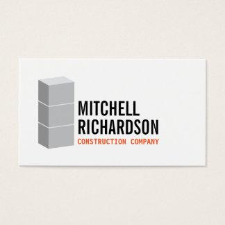 Gray Blocks Logo Construction Builder Contractor Business Card