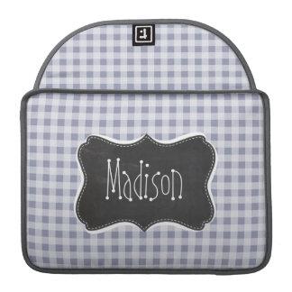 Gray-Blue Gingham; Vintage Chalkboard MacBook Pro Sleeves