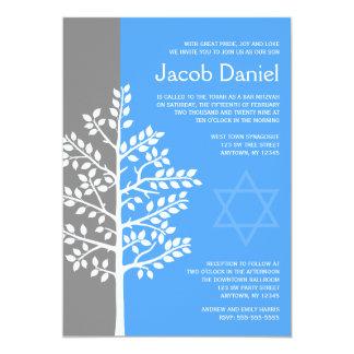 Gray Blue Tree of Life Bar Mitzvah Invitations