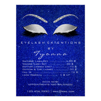 Gray Blue White Makeup Artist Lashes Price List Poster