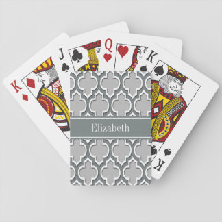 Gray Charcoal Moroccan #5DS Charcoal Name Monogram Playing Cards