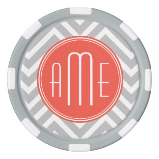 Gray Chevron and Coral Custom Monogram Set Of Poker Chips