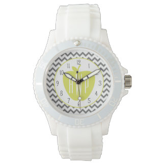 Gray Chevron And Neon Apple Monogram Teacher Watch
