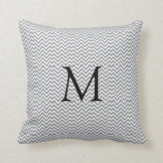 Gray Chevron Monogram Pillow