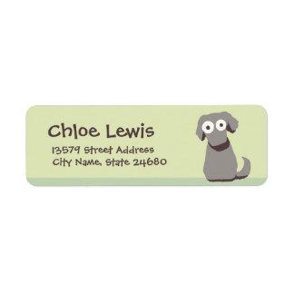 Gray Cute Dog Return Address Label