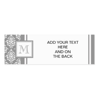 Gray Damask Pattern 1 with Monogram Business Card