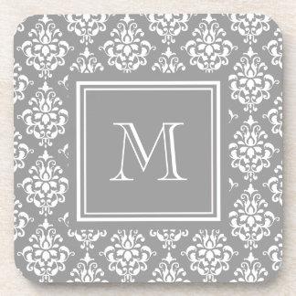 Gray Damask Pattern 1 with Monogram Beverage Coasters