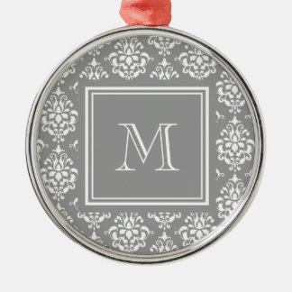 Gray Damask Pattern 1 with Monogram Christmas Ornament