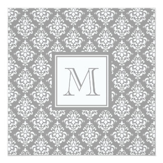Gray Damask Pattern 1 with Monogram Personalized Announcement