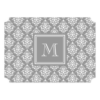 Gray Damask Pattern 1 with Monogram Invites