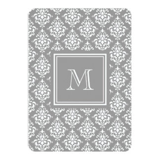 Gray Damask Pattern 1 with Monogram Custom Announcement