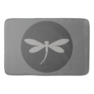Gray Dragonfly Bath Mat