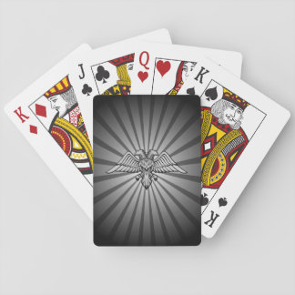 Gray eagle with two heads playing cards