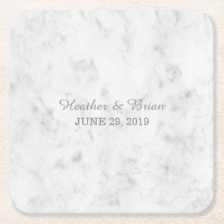 Gray Elegant Marble Wedding Square Paper Coaster