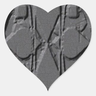Gray Engraved Heart Sticker