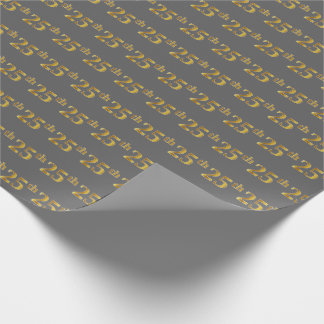Gray, Faux Gold 25th (Twenty-Fifth) Event Wrapping Paper