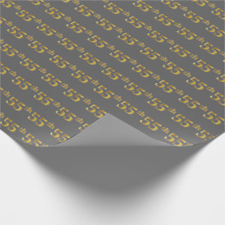 Gray, Faux Gold 55th (Fifty-Fifth) Event Wrapping Paper