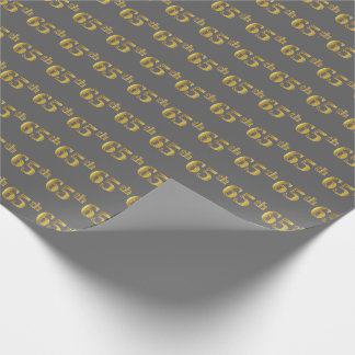 Gray, Faux Gold 65th (Sixty-Fifth) Event Wrapping Paper