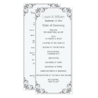 Gray Flourish Wedding Program 10 Cm X 24 Cm Invitation Card