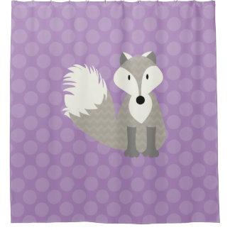 Gray Fox on Lavender Polka Dots Shower Curtain
