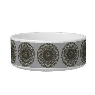 Gray Gold Mandala Pet Food Bowls