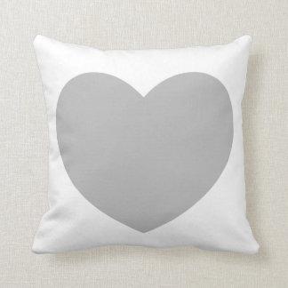 Gray Heart Pillow Throw Cushions