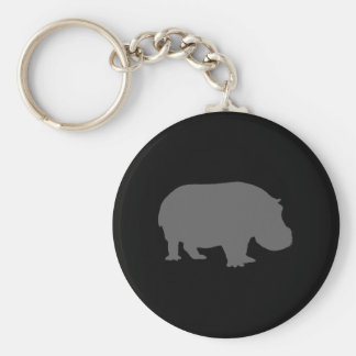 Gray Hippo Silhouette Key Ring