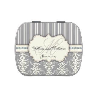 Gray & Ivory Damask Monogram Elegant Candy Tin