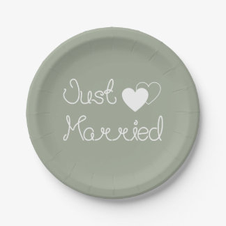 Gray Just Married With White Hearts Wedding 7 Inch Paper Plate
